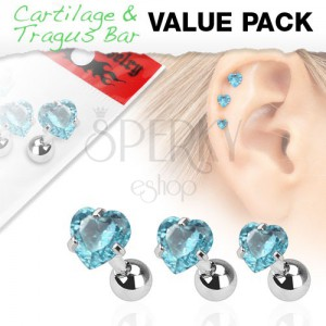 Sada tří ocelových piercingů do ucha, akvamarínový zirkon - srdce