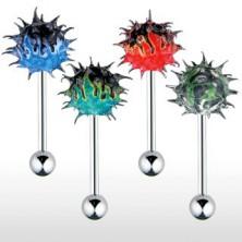 Piercing do jazyka se silikonovým barevným ježkem ohnivý vzor
