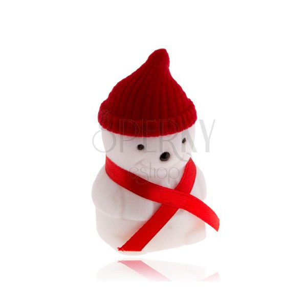 Dárková krabička na prsten, sněhulák s červenou čepicí
