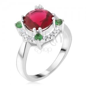 Prsten ze stříbra 925, zirkonový kruh, červený kamínek