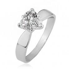 Prsten ze stříbra 925 - čiré zirkonové srdce, hladká lesklá ramena