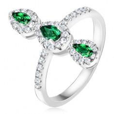 Prsten ze stříbra 925, tři zelené slzičkovité kamínky, zirkonový lem BB18.09