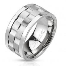 Ocelový prsten - dvě matné otáčející se obruče se žlábky