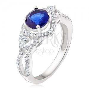 Stříbrný prsten 925, tmavomodrý kámen, oblé zirkonové linie