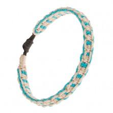 Pletený náramek, vodorovné a svislé linie bílé a akvamarínové barvy