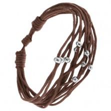 Multináramok - čokoládovohnedé šnúrky, korálky striebornej farby