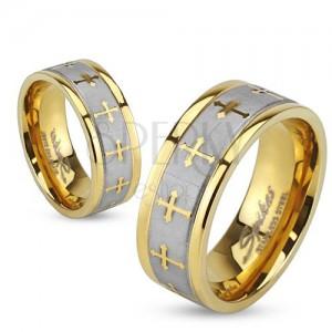 Prsten z oceli zlaté barvy, stříbrný saténový pás, jetelové kříže