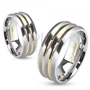 Ocelová obroučka, tři stříbrné pásy, zlaté prohlubně