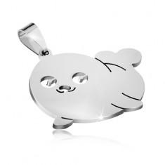 Přívěsek z chirurgické oceli stříbrné barvy, tulení mládě