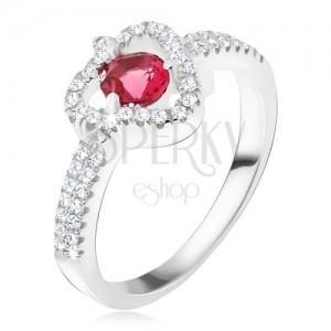Prsten ze stříbra 925, červený kamínek, čirý zirkonový trojúhelník