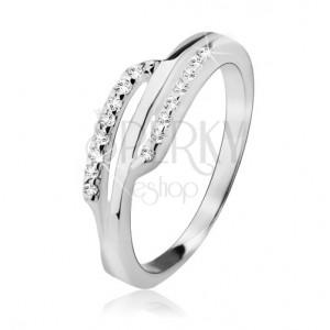 Stříbrný prsten 925, dva zirkonové proužky, hladký pás uprostřed