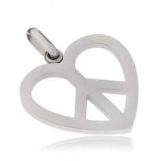 Ocelový přívěsek, symbol Peace v kontuře srdce
