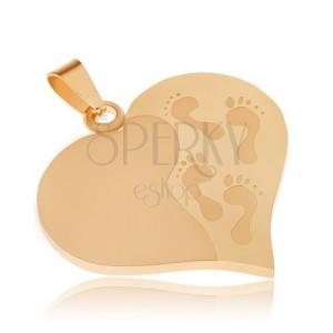 Zlatý přívěsek z oceli, souměrná srdce, gravírované otisky nohou