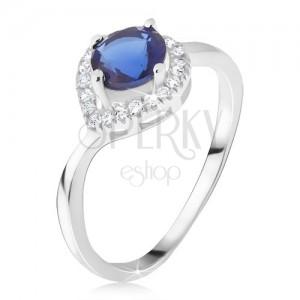 Prsten ze stříbra 925, tmavomodrý kámen, zirkonová kapka