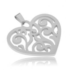 Přívěsek z oceli, souměrná srdce s vyřezávanými liniemi