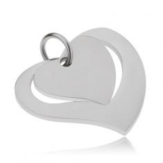 Dvojdílný ocelový přívěsek, lesklá kontura srdce a matné srdce