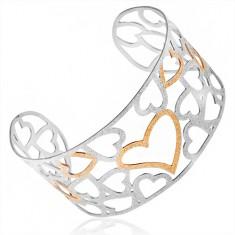 Pískovaný stříbrno-zlatý vyřezávaný náramek z oceli, obrysy srdcí S65.17