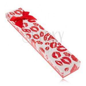 Dárková krabička na náramek, otisky rtů, červená mašle