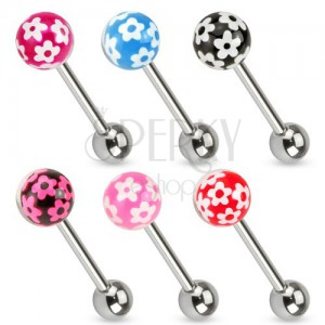 Piercing do jazyku z chirurgické oceli, barevná kulička s kvítky