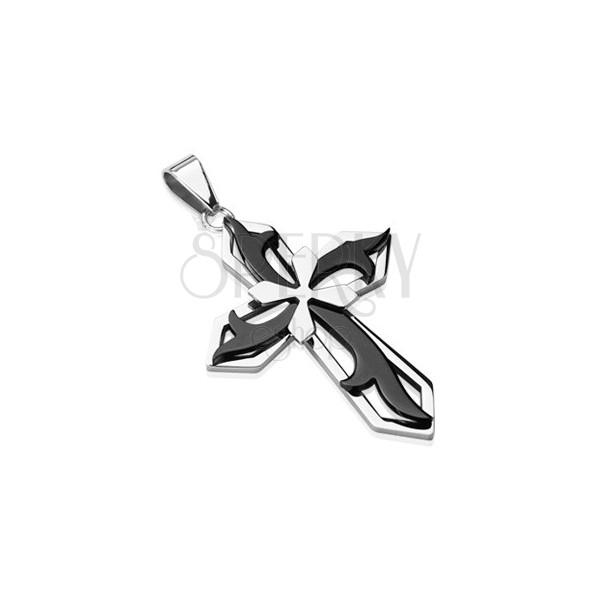 Přívěsek z chirurgické oceli - kříž v kombinaci černé a stříbrné barvy