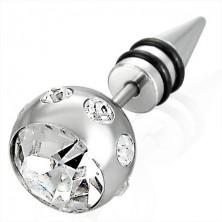 Falešný piercing ve stříbrné barvě - velká koule se zirkonem, špička se dvěma černými gumičkami
