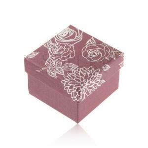 Třpytivá fialová krabička na prsten, stříbrná ilustrace květin