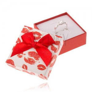 Červenobílá krabička na šperk, otisky rtů, mašle