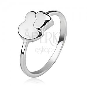 Prsten ze stříbra 925, asymetrické a symetrické srdce