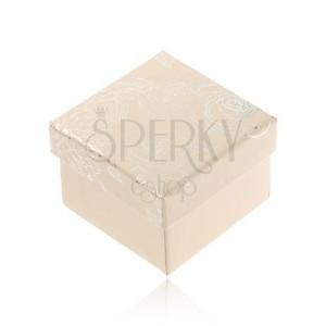 Krémově bílá krabička na šperk, stříbrný motiv květin