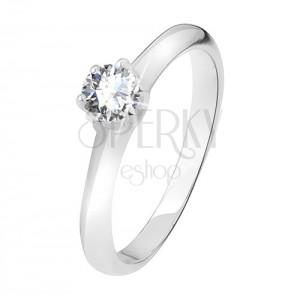 Stříbrný prsten 925, čirý zirkon v kalíšku se šesti kolíčky