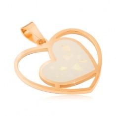 Oceľový prívesok zlatej farby, biele perleťové srdce v obryse srdca