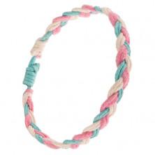 Ružovo-bielo-modrý náramok, vrkoč zo zdvojených motúzikov
