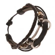 Multináramok - čierny pás kože, pletenec, dve veľké kovové obruče