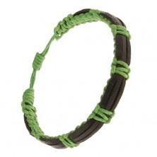 Pletený zelený náramok zo šnúrok, tri čierne prúžky kože