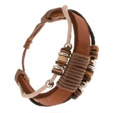 Multináramok, hnedý pás kože ovitý šnúrkou, korálky z dreva a kovu