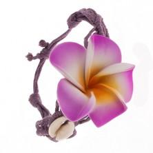Fialový náramok - zapletané motúziky, kvet, lesklé ulity