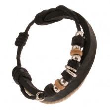 Multináramok - čierny pás kože, čierna a hnedá šnúrka, ozdobné korálky