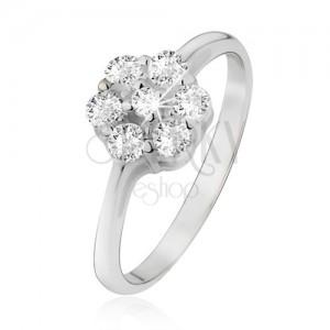 Prsten ze stříbra 925, květ z čirých okrouhlých zirkonů