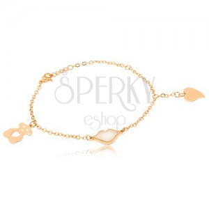 Ocelový náramek zlaté barvy, perleťové rty, vyřezávaný medvídek, srdce