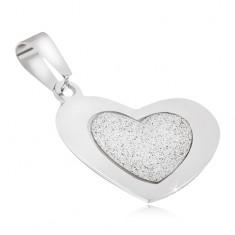 Přívěsek z oceli - pískované srdce s lesklým hladkým rámem
