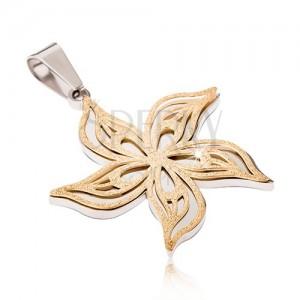 Stříbrno-zlatý pískovaný přívěsek z oceli, zvlněný květ