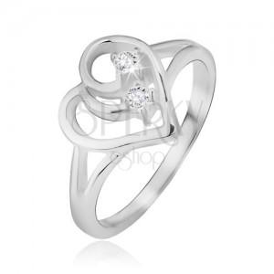 Prsten ze stříbra 925, rozdvojená ramena, obrys srdce, čiré kamínky
