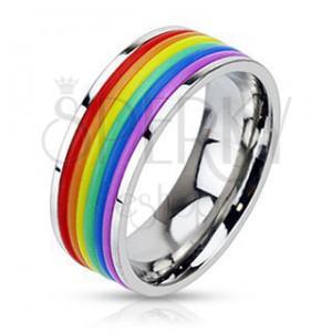 Lesklý ocelový prsten s pryžovými pásky v barvách duhy