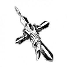 Přívěsek z chirurgické oceli - kříž s křídlem anděla G1.11