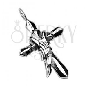 Přívěsek z chirurgické oceli - kříž s křídlem anděla