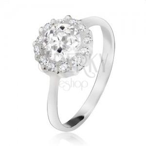 Prsten ze stříbra 925, okrouhlý čirý kamínek se zirkonovým lemem