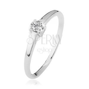 Prsten ze stříbra 925, čirý kamínek v kalíšku se čtyřmi kolíčky