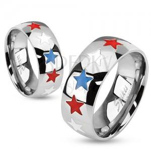 Prsten z oceli, glazované hvězdy bílé, modré a červené barvy