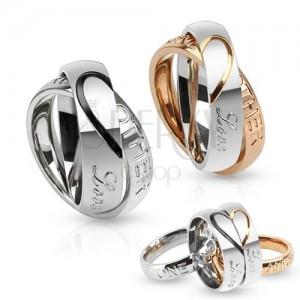 Dvojitý ocelový prsten, kontura srdce, Love one another