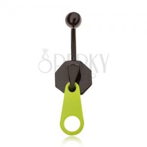 Piercing do břicha z oceli, černý zip s neonově zeleným jazýčkem